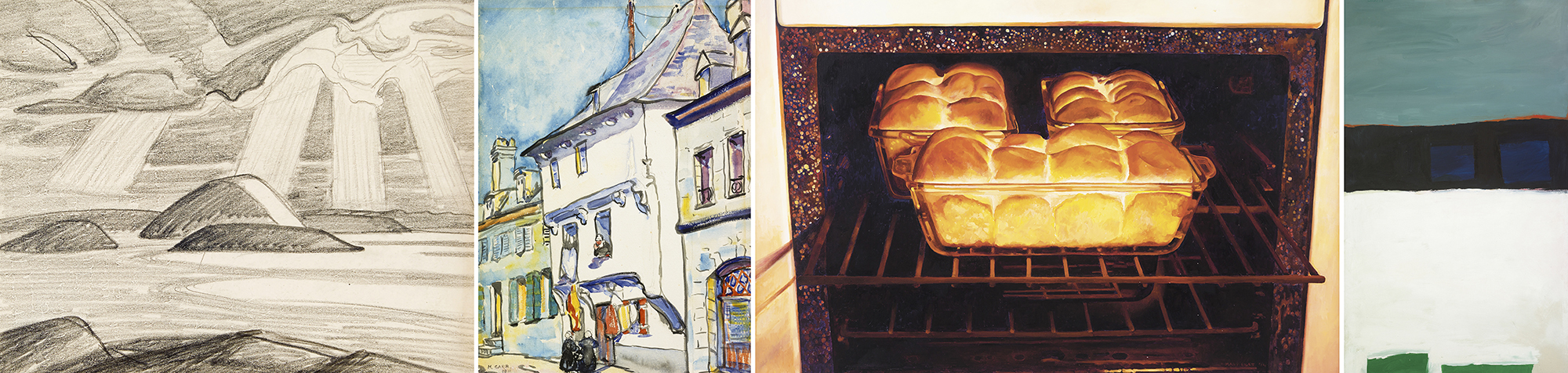 (Left to Right) Lawren Harris, Lake Superior (I.D. 463); Emily Carr, European Street Scene; Mary Pratt, Baking Bread; Michael Snow, Off Minor (1958)